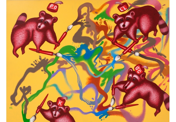 Peter Saul Raccoons Paint a Picture
